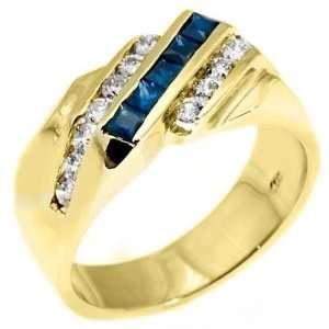 Gold Mens Princess Cut Blue Sapphire & Round Diamond Ring 1.62 Carats