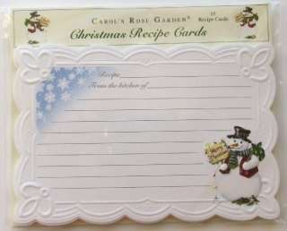 Carol Wilson Christmas Recipe Cards Lined 15 Ct. Pkg. Snowman
