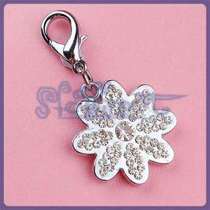 Pet Tag Dog Cat Metal Rhinestone Collar Charm Flower