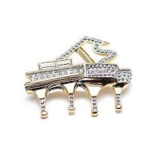 Clear Austrian Rhinestone Gold Tone Piano Brooch Pin Jewelry