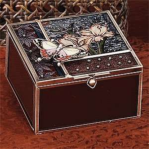 Butterfly Antique Brown Glass Jewelry Box Container Accessory