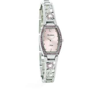 Womens Silver Tone Dress Watch with Crystal Heart Accents Watches