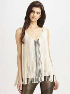 Haute Hippie   Beaded Fringe Tank Top