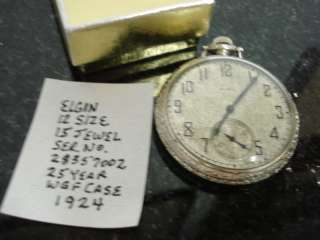 Antique Elgin Pocket Watch 15 Jewel Second Dial Works