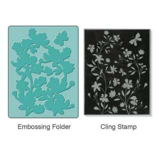 New Sizzix Embossing Folder w/ Hero Arts Stamp   SILHOUETTE VINES SET