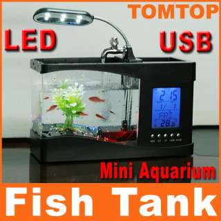 New USB Desktop Mini Fish Tank Aquarium LCD Timer Clock LED lamp Light