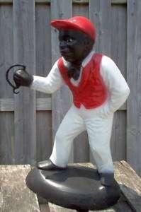 Black Jocko Jockey Boy Concrete Garden Lawn Statue