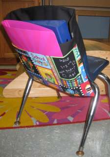 Chair Pocket Seat Desk Sack *SCHOOL DAYS COLOR* 2 POCKETS ORGANIZE FOR