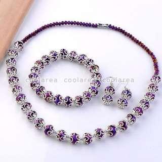 Purple Crystal Glass Bead Necklace Bracelet Earrings Lady Jewelry