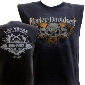 Harley Davidson Las Vegas Dealer Muscle T Shirt Sleeveless Black LARGE