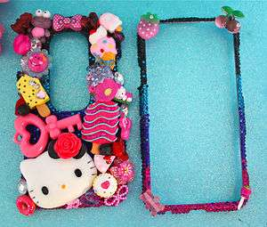 HELLO KITTY HTC EVO 3D PINK CRYSTAL CANDY HEART BLING DECO PHONE CASE