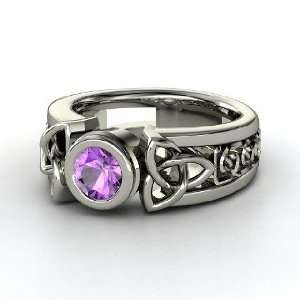 Celtic Sun Ring, Round Amethyst 18K White Gold Ring Jewelry
