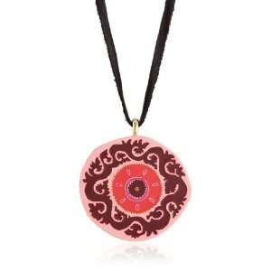 Lucky Brand Suzani Gold Tone Pink Enamel Pendant Necklace