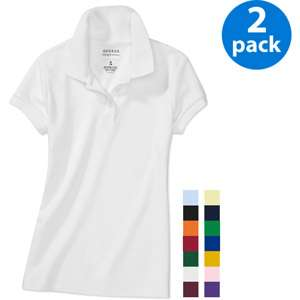 George   Girls Short Sleeve Polo Shirts, 2 Pack Value