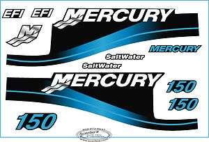 Mercury Outboard 150HP Decal Kit, Blue Saltwater Motor Cover Decals