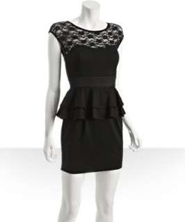 Casual Couture by Green Envelope black jersey lace detail peplum dress