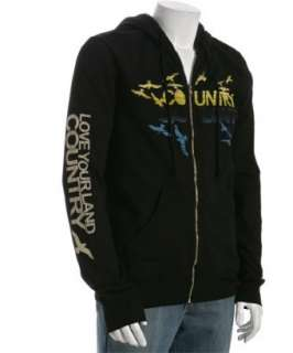 Country Love black cotton fleece Country zip hoodie   up to