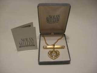 Nolan Miller Crystal Rhinestone Floating Heart Pendant in box