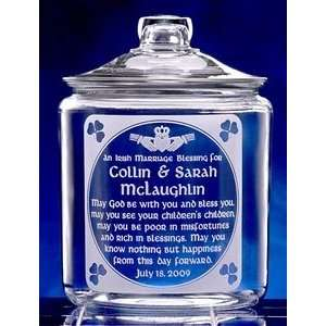 Personalized Irish Marriage Blessing Glass Cookie Jar