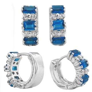 Personalized Jewelry NIB HOOP BLUE SAPPHIRE WHITE GOLD GP EARRINGS