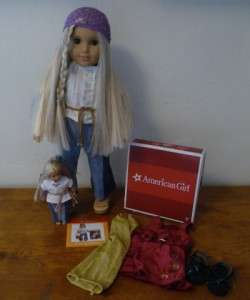 Julie American Girl 18 Doll PLUS Julie mini doll + Christmas outfit