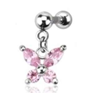 16g Cartilage Earring Piercing Stud with 5mm Pink Gem Butterfly Dangle