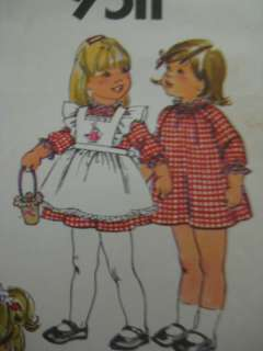 VTG Simplicity Girls PINAFORE DRESS Sewing Pattern 9511