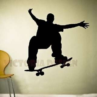 SKATEBOARD VINYL STICKER ROOM HOME DECOR WALLPAPER ART
