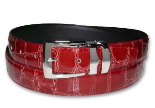 APPLE RED Bonded Leather Belt Silver Tone Buckle sz 42