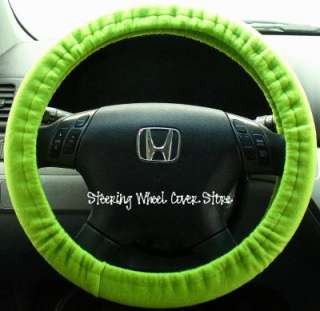 Car Steering Wheel Cover Soft Lime Green Neon Print NEW