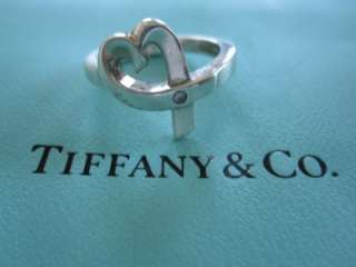 Tiffany & Co. Picasso Sterling Diamond Loving Heart Ring Size 6.5