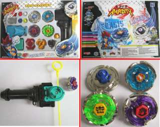 Beyblade Metal Fusion String Rip cord Launcher Gyroscope Toy Set