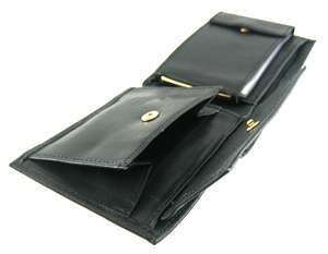 ROLFS Mens Black Brass Zip Coin Pocket Wallet
