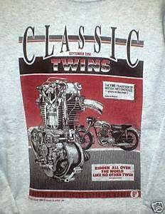 Classic Twin Engine Motorcycle Tee Shirt