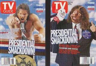 LOT SET WWE WWF TV GUIDES HHH MICK FOLEY ROCK CHYNA