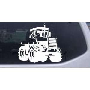White 18in X 20.1in    Logging Skidder Business Car Window Wall Laptop