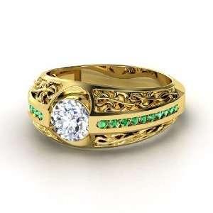 Vintage Romance Ring, Round Diamond 14K Yellow Gold Ring